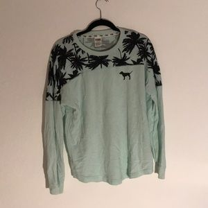 Turquoise Long Sleeve Shirt with Palm Tree Details